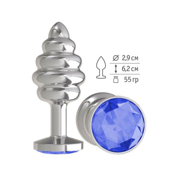 Анальная втулка Silver Spiral с синим кристаллом маленькая