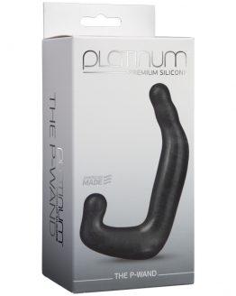 Фаллоимитатор для стимуляции простаты и мошонки Platinum Premium Silicone - The P-Wand - Charcoal