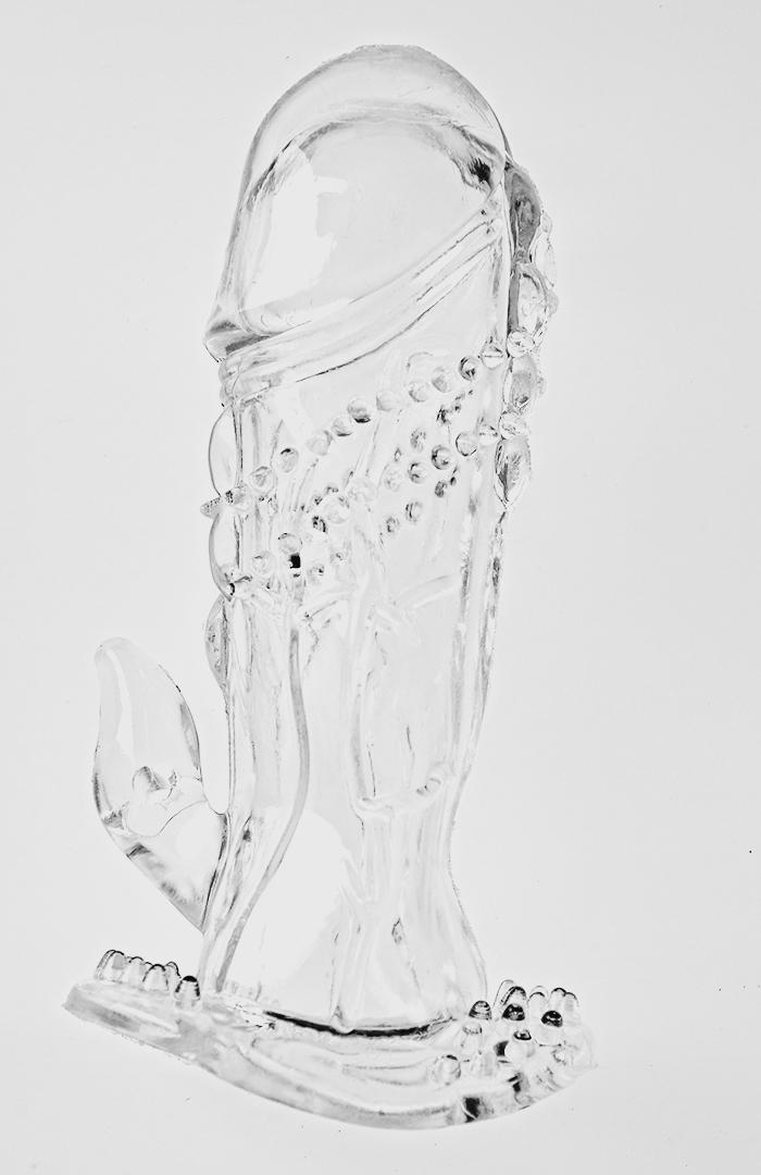 Насадка на фаллос прозрачная с шипами и коготком для стимуляции клитора